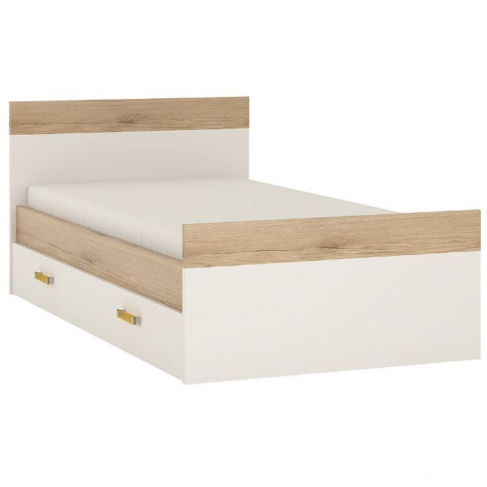4KIDS Single bed with under drawer in light oak and white high gloss with orange handles
